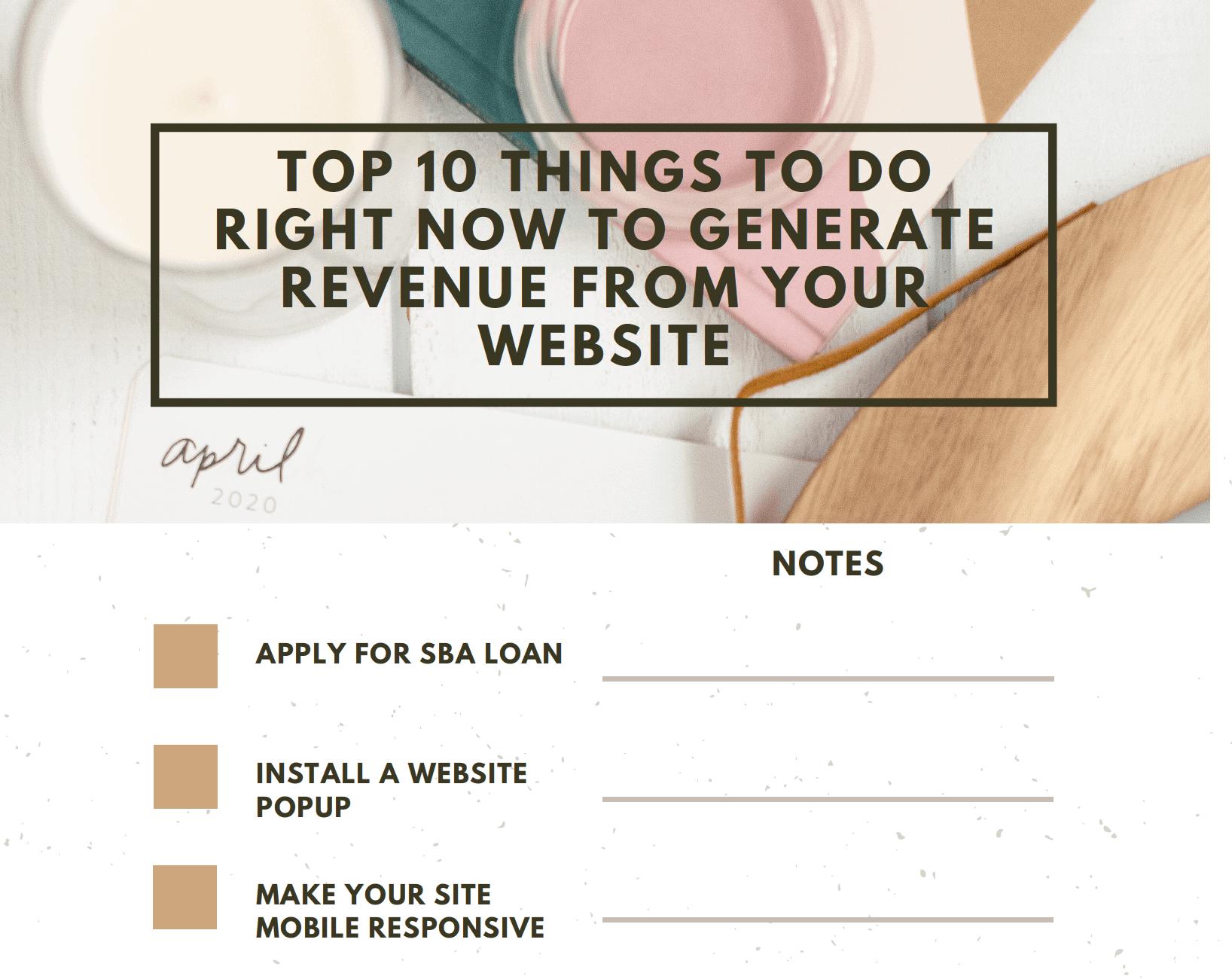 make money from your website checklist